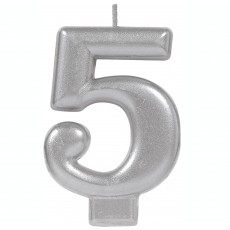 Number 5 Party Supplies - Candle Moulded Metallic Silver 8cm