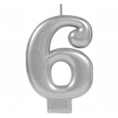 Number 6 Party Supplies - Candle Moulded Metallic Silver 8cm