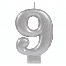 Number 9 Party Supplies - Candle Moulded Metallic Silver 8cm