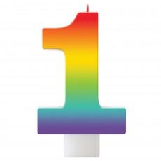 Number 1 Rainbow Birthday Celebration Candle