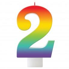 Number 2 Rainbow Birthday Celebration Candle