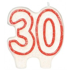 30th Birthday Glitter Numeral Candle