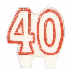 40th Birthday Glitter Numeral Candle