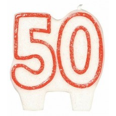 50th Birthday Red Border #50 with Glitter Candle