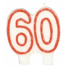 60th Birthday Glitter Numeral Candle