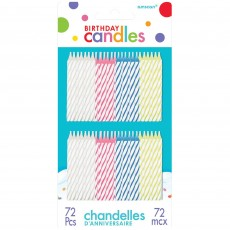 Stripes Spiral Candles Pack of 72