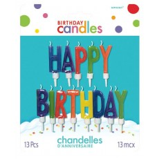 Multi Coloured Letter Happy Birthday Candles Pack of 13