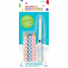 Happy Birthday Musical Holder Candles Pack of 7