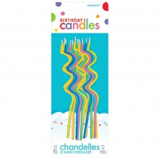 Multi Colour Skinny Coil Candles Pack of 12