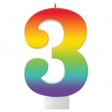 Number 3 Rainbow Birthday Celebration Candle