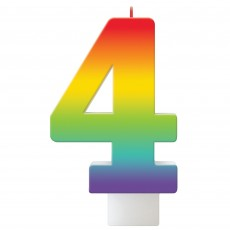 Number 4 Party Supplies - Candle Birthday Celebration Rainbow