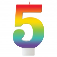 Number 5 Rainbow Birthday Celebration Candle