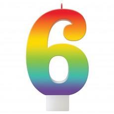 Number 6 Rainbow Birthday Celebration Candle