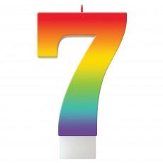 Number 7 Rainbow Birthday Celebration Candle