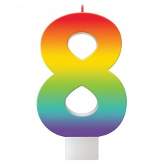 Number 8 Party Supplies - Candle Birthday Celebration Rainbow