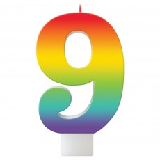 Number 9 Rainbow Birthday Celebration Candle