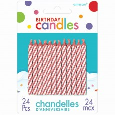 Candy Pink & White Stripes Candles Pack of 24