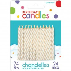 Candy White Stripes Candles Pack of 24