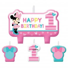 Minnie Mouse 1st Birthday Fun To Be One Candles Pack of 4