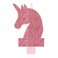 Glittered Pink Magical Unicorn Candle 13cm