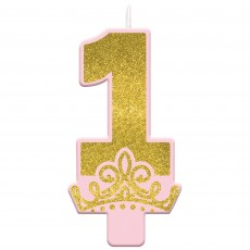 Disney Princess Once Upon A Time 1st Birthday Glittered Candle 12cm x 6cm