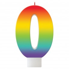 Number 0 Party Supplies - Candle Birthday Celebration Rainbow