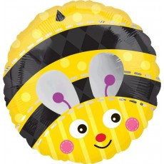 Round What Will It Bee? Standard XL Cute Bumblebee Foil Balloon 45cm