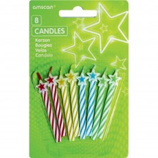 Multi Colour ed Stars on Spiral Candles