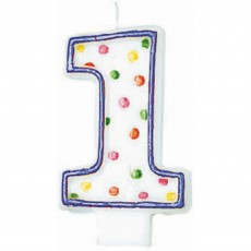 Number 1 Party Supplies - Candle Polka Dots Flat