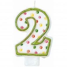 Number 2 Party Supplies - Candle Polka Dots Flat