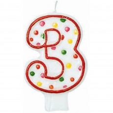 Number 3 Polka Dots Flat Candle