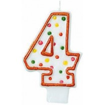 Number 4 Party Supplies - Candle Polka Dots Flat