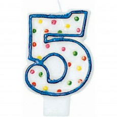 Number 5 Polka Dots Flat Candle