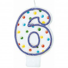 Number 6 Party Supplies - Candle Polka Dots Flat