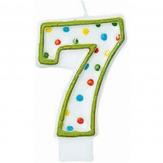 Number 7 Polka Dots Flat Candle