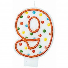 Number 9 Party Supplies - Candle Polka Dots Flat