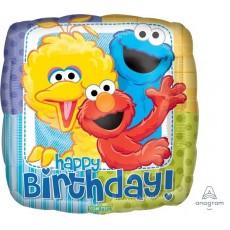 Square Sesame Street Standard XL Happy Birthday! Foil Balloon 45cm