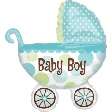 Baby Shower - General SuperShape XL Buggy Baby Boy Shaped Balloon 71cm x 79cm