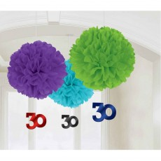 30th Birthday Chevron Celebration Fluffy Hanging Decorations