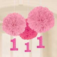Girl's 1st Birthday Fluffy Hanging Decorations