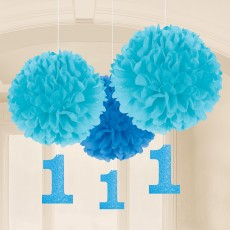 Boy's 1st Birthday Fluffy Hanging Decorations