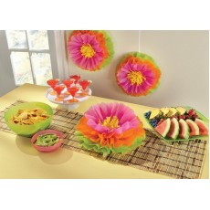 Hawaiian Luau Fluffy Tissue Paper Hibiscus Flower Hanging Decorations