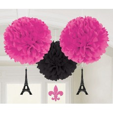 Day in Paris Fluffy Tissue Hanging Decorations