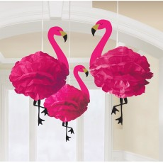 Hawaiian Luau Fluffy Flamingo Hanging Decorations