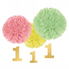 Girl's 1st Birthday Party Decorations - Cutouts Fluffy
