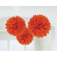 Orange Peel Fluffy Tissue Hanging Decorations 40.6cm Pack of 3
