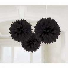 Black Fluffy Pom Pom Hanging Decorations 40.6cm Pack of 3