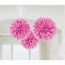 Bright Pink Fluffy Tissue Hanging Decorations 40.6cm Pack of 3
