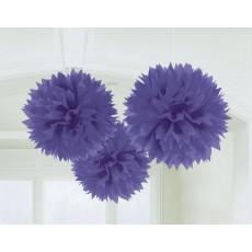 Purple Fluffy Pom Pom Hanging Decorations
