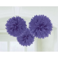 Purple Fluffy Tissue Hanging Decorations 40.6cm Pack of 3